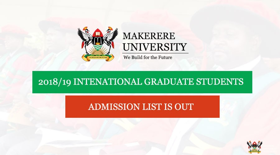 International Students Graduate Admission Lists for 2018/19 Academic Year
